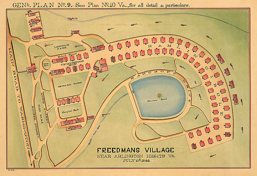 Freedmans Village near Arlington Hights, Virginia, July 10, 1865. Map by War Department, Office of the Quartermaster General. Courtesy of National Archives.