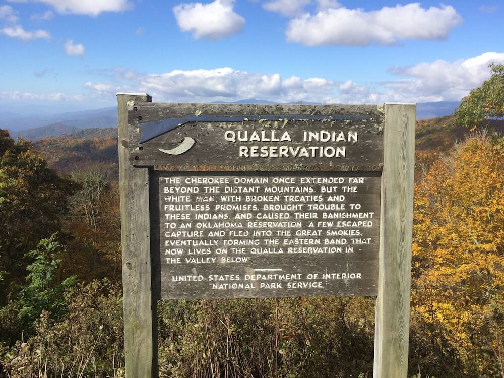 Qualla Indian Reservation Marker, near Qualla in Haywood County, North Carolina, October 19, 2016. Photograph by Mark Hilton. Courtesy of the Historical Marker Database.