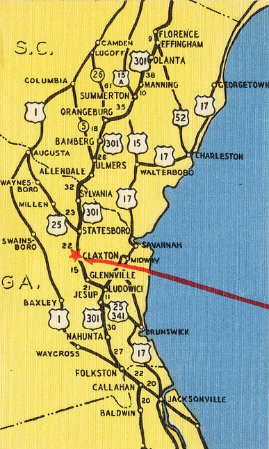 Detail of postcard showing the location of Claxton, Georgia. Image by Flickr user Boston Public Library. Creative Commons license CC BY 2.0.