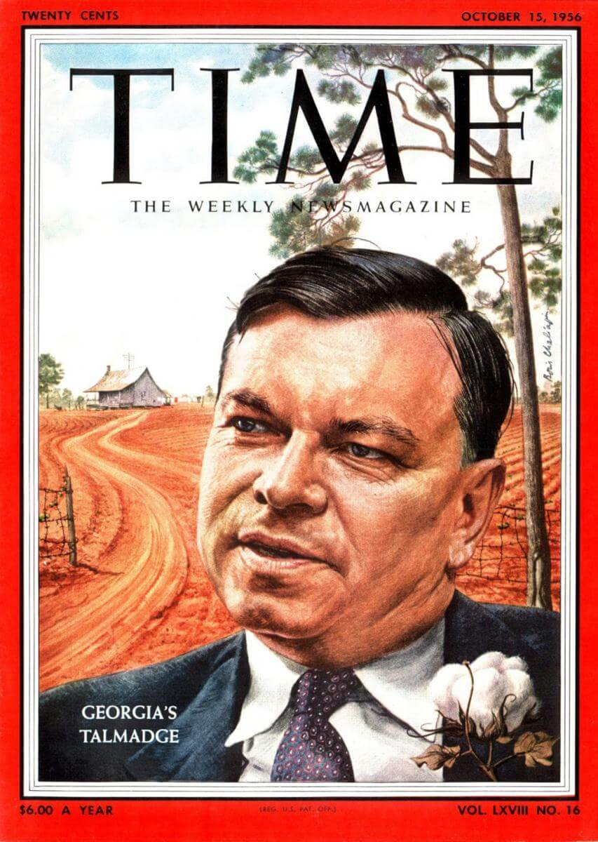 Cover to the October 15, 1956, issue of Time magazine featuring Georgia governor Herman Talmadge.