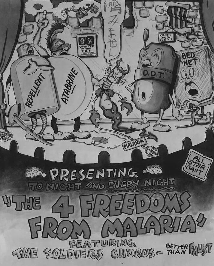 The 4 Freedoms from Malaria, 1945. Image scan by Flickr user National Museum of Health and Medicine. Creative Commons license CC BY 2.0.