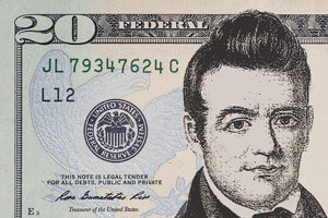 Mock-up of a John Ross $20 bill. Illustration by Adrian Kinloch. Courtesy of Adrian Kinloch, http://steveinskeep.com/the-john-ross-20-bill/.