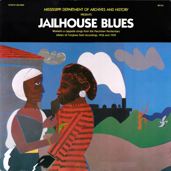 Cover to the album compilation Jailhouse Blues featuring artwork by Romare Bearden, Mississippi Department of Archives and History, Rosetta Records, 1987.