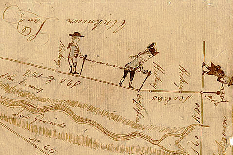 """Detail of """"Doodle"""" Plat showing a drawing of land surveyors, from a plat of Georgia land granted to William Few, ca. 1784. Courtesy of the Ad Hoc collection, Georgia Archives, University System of Georgia."""