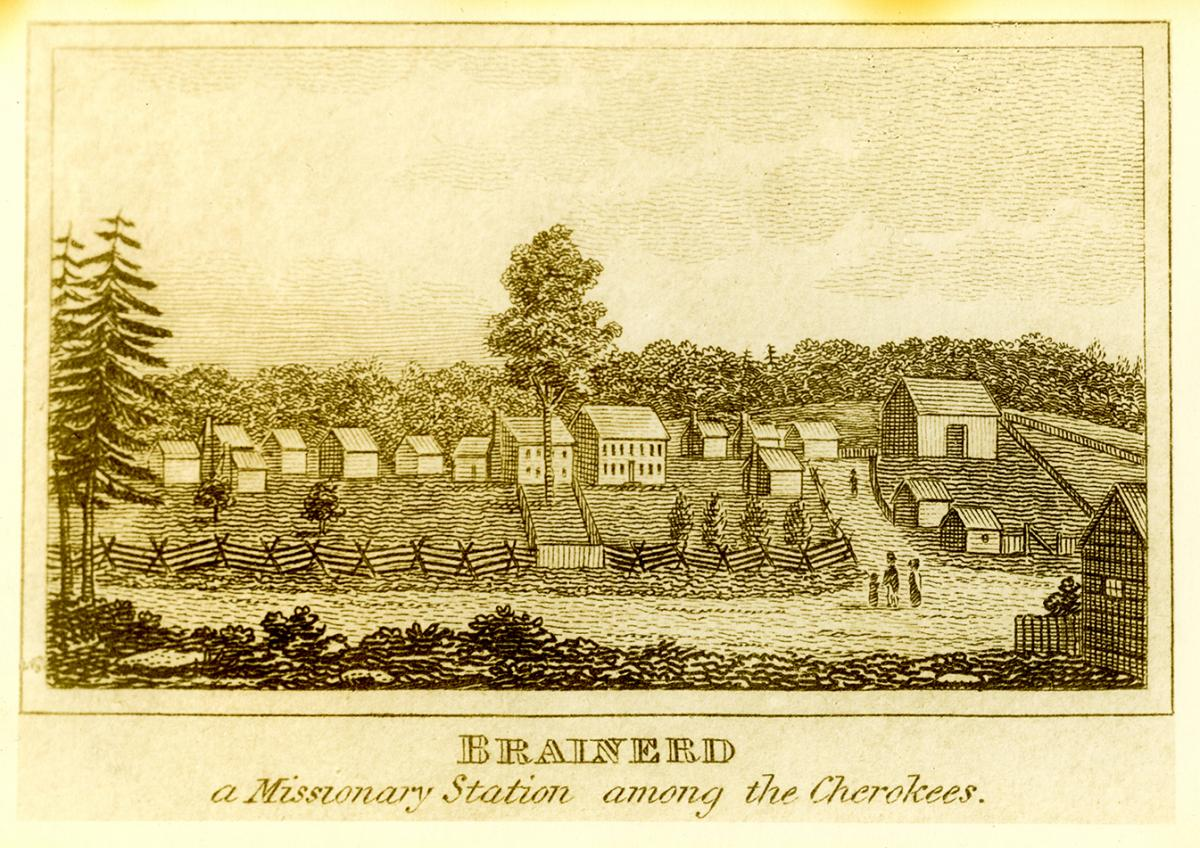 Brainerd: A Missionary Station Among the Cherokees (in Tennessee). Print of a woodcut by unknown creator. Courtesy of the Penelope Johnson Allen Brainerd Mission Correspondence and Photographs collection, University of Tennessee at Chattanooga.