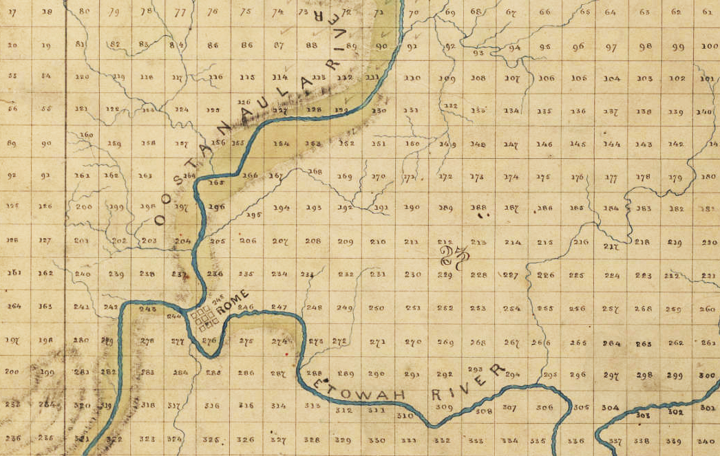 Detail of Map of Floyd County, 1871. Map published by William Philllips. Courtesy of County Maps collection, Georgia Archives, University System of Georgia.