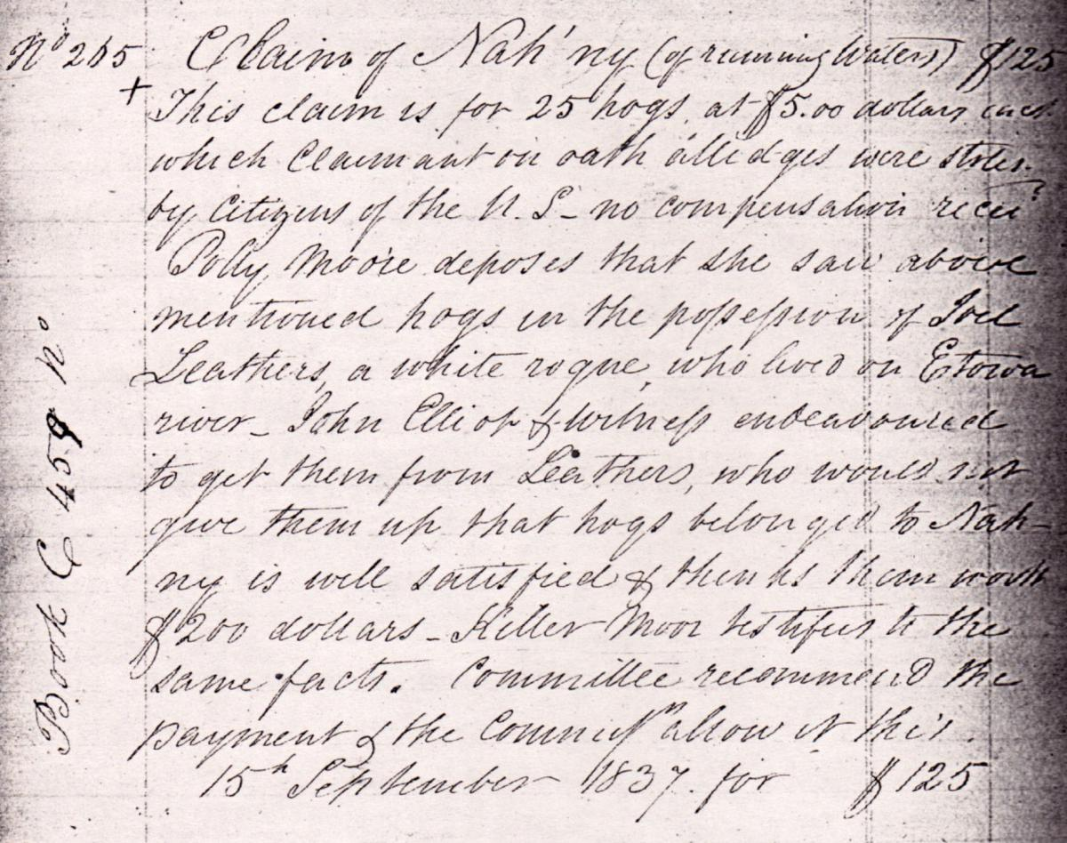 Lost property claim ofNah'nyof Running Watersidentifyingthewhitemanwhostoleherlivestock, Georgia,1837. CherokeeIndiansRelocationPapers,MS0927,GeorgiaHistoricalSociety. Image provided by Sarah H. Hill.