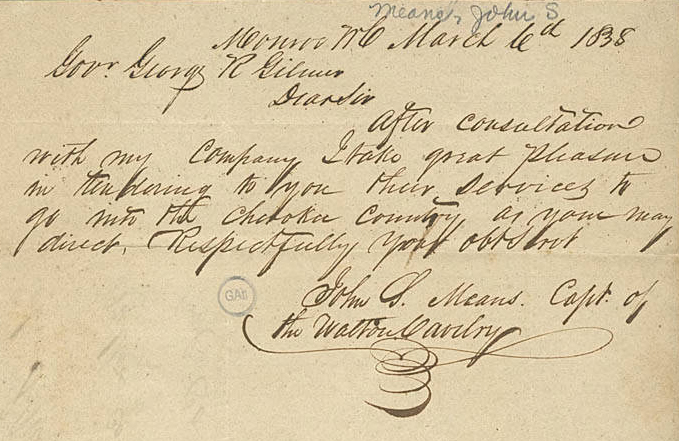 Letter from John Means to George Gilmer, March 6, 1838. Courtesy of File II Names collection, Georgia Archives, University System of Georgia.