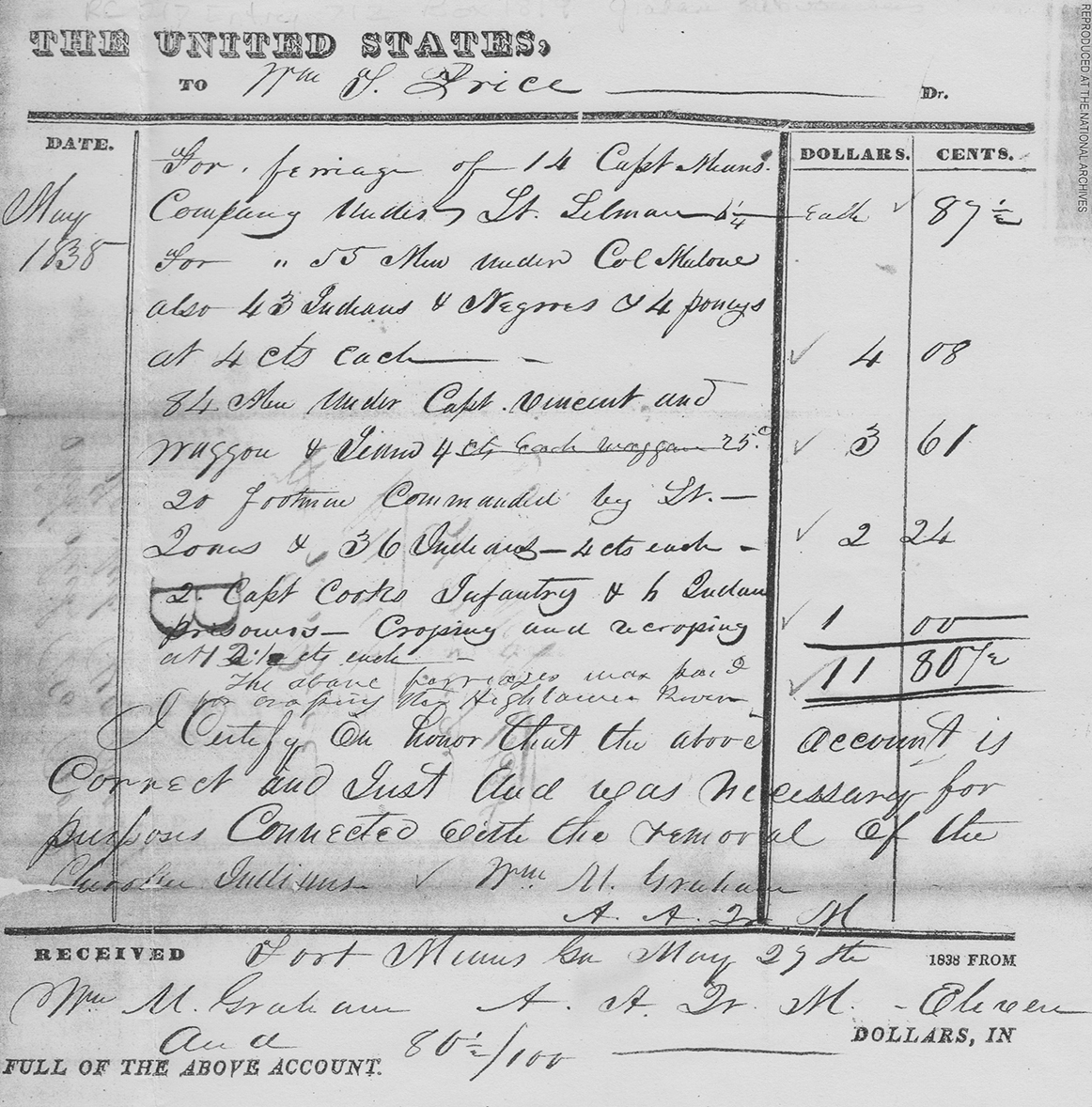 William Graham voucher 139 payment for ferriage to William T. Price, May 29, 1838. RG 217, Entry 712, Box 1819, National Archives. Image provided by Sarah H. Hill.