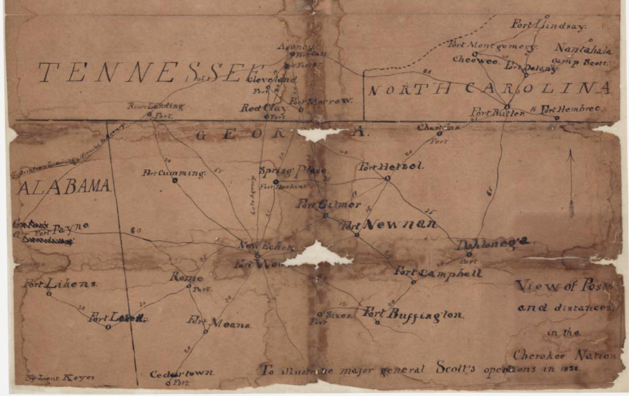 View of Posts & Distances in the Cherokee nation, to illustrate Maj. General Scott's operations, December 15, 1838. Map by Lt. Erasmus Darwin Keyes, approximating the locations of and distances between removal posts in the Cherokee Nation. Courtesy of the U.S. National Archives and Records Administration.