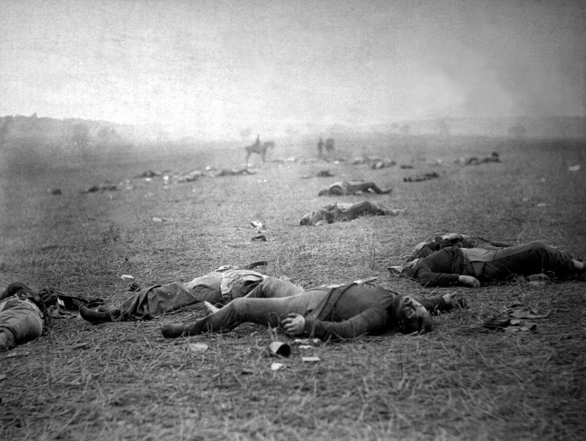 Incidents of the war. A harvest of death, Gettysburg, Pennsylvania, July 1863. Photograph by Timothy H. O'Sullivan. Courtesy of Wikimedia Commons. Image is in public domain.