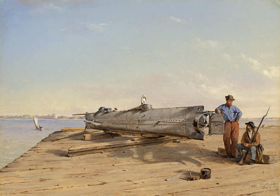 """Submarine Torpedo Boat H.L. Hunley, Dec. 6, 1863,"" Charleston, South Carolina, 1864. Oil on panel by Conrad Wise Chapman. Courtesy of Wikimedia Commons. Image is in public domain."