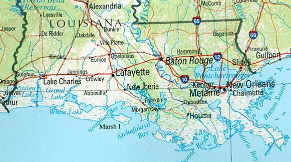 Louisiana (reference map), Louisiana Acadian region, 2002. Map by US Geological Survey. Courtesy of the Perry-Casañeda Map Collection, University of Texas.