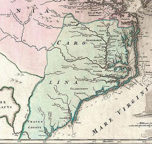 "Johann Homann, ""Virginia Marylandia et Carolina in America Septentrionali Britannorum industria excultae . . .,"" 1715. Via Wikimedia Commons."