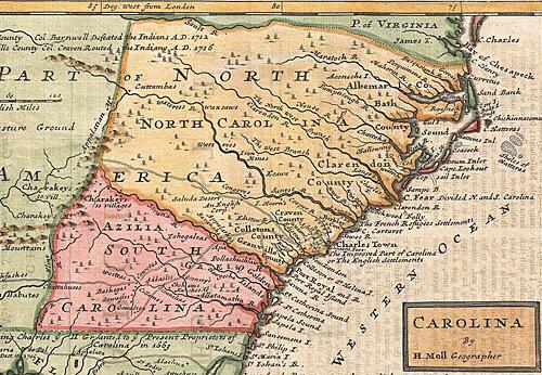 """Herman Moll, """"Map of Carolina,"""" 1746. Via Wikimedia Commons."""