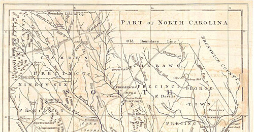 """J. Hinton, """"A New and Accurate Map of the Province of South Carolina in North America,"""" 1779. From The Universal Magazine, courtesy of the Historical Maps of Alabama Collection, University of Alabama Department of Geography. Via Wikimedia Commons."""