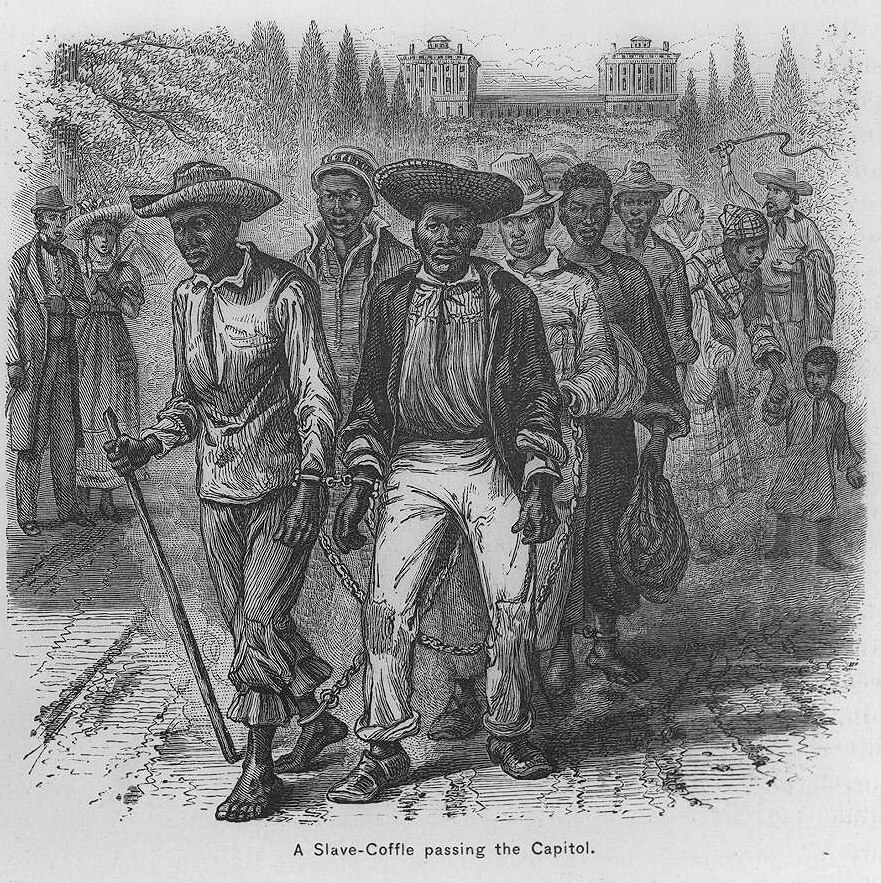 A Slave-Coffle passing the Capitol, ca. 1815. Illustration by unknown artist. Originally published in Cullen and Howard's Popular History of the United States (Scribner, Armstrong, and Co., 1876–1881). Courtesy of the Library of Congress, loc.gov/pictures/item/98510280/.