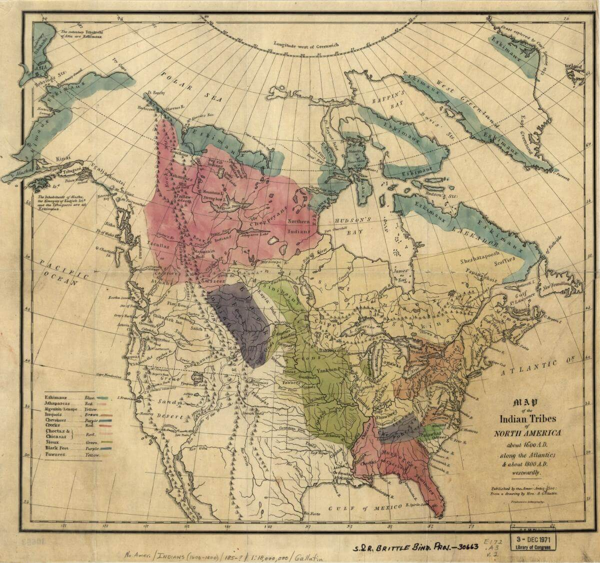 Map of the Indian tribes of North America about 1600 AD, Washington DC, 1836. Map by Albert Gallatin. Courtesy of the Library of Congress Geography and Map Division, loc.gov/resource/g3301e.ct000669/.