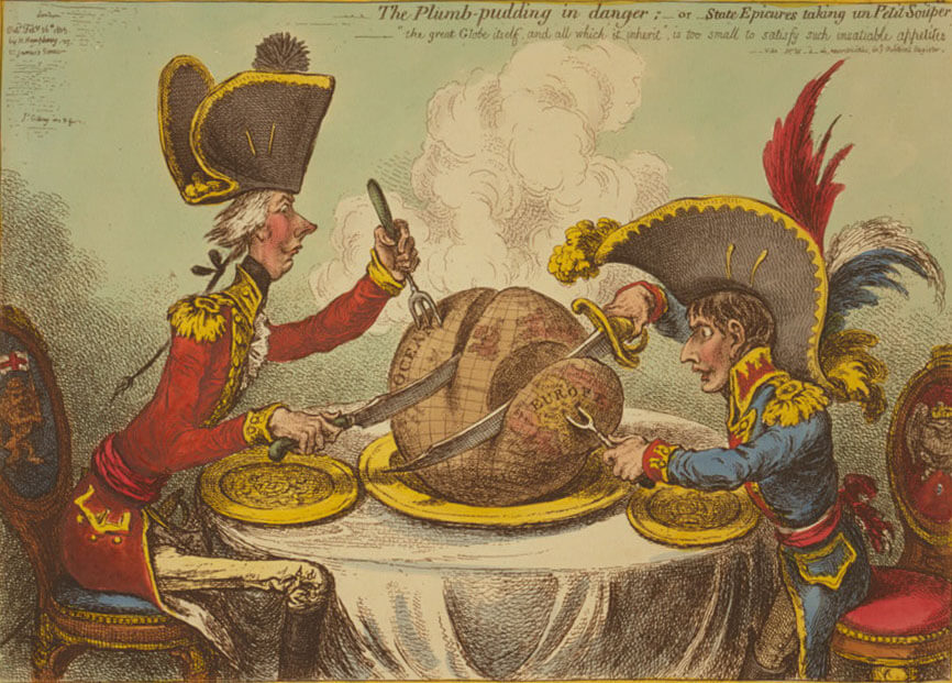 The Plumb-pudding in danger, a political cartoon depicting US and European imperialism, February 26, 1805. Cartoon etching  by James Gillray. Courtesy of the Library of Congress Prints and Photographs Division, loc.gov/resource/cph.3g08791/.