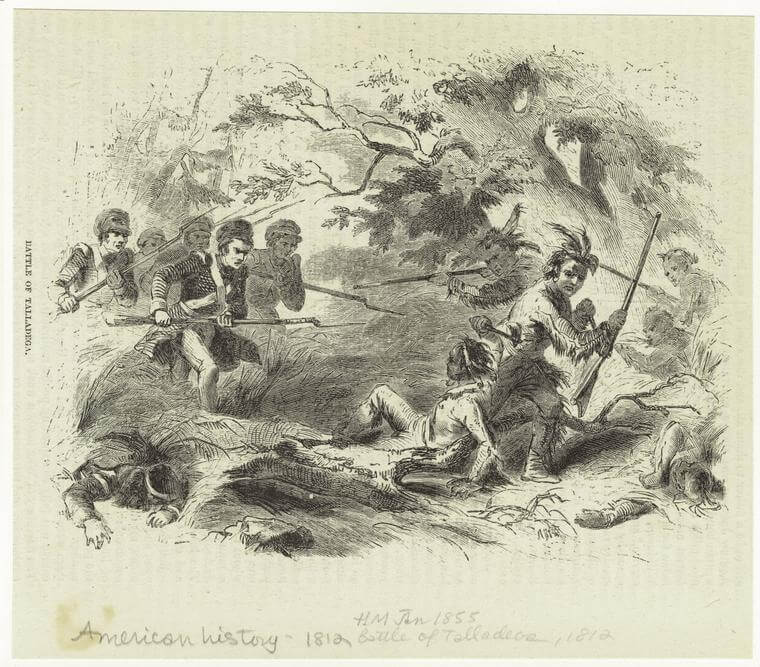 Battle of Talladega, 1855. Engraving by unknown creator. Courtesy of the New York Public Library Art and Picture Collection Division, digitalcollections.nypl.org/items/510d47e0-f6d5-a3d9-e040-e00a18064a99.