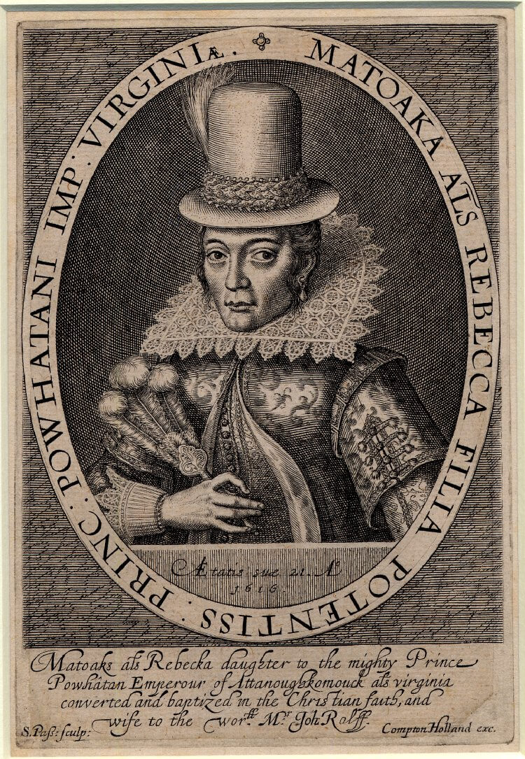 Portrait of Pocahontas, 1616. Engraving by Simon van de Passe. Courtesy of Wikimedia Commons. Image is in the public domain.