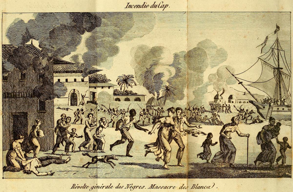 Incendie du Cap [Burning of Cape Francais], Saint-Domingue, 1820. Frontispiece by unknown creator. Originally published in Saint-Domingue, ou Histoire de ses revolutions (Chez Tiger, 1820). This image is a frontispiece from a history of the Haitian Revolution, published in France about ten years before US planters took action to suppress slave rebellions on a federal scale. Courtesy of Wikimedia Commons. Image is in public domain.