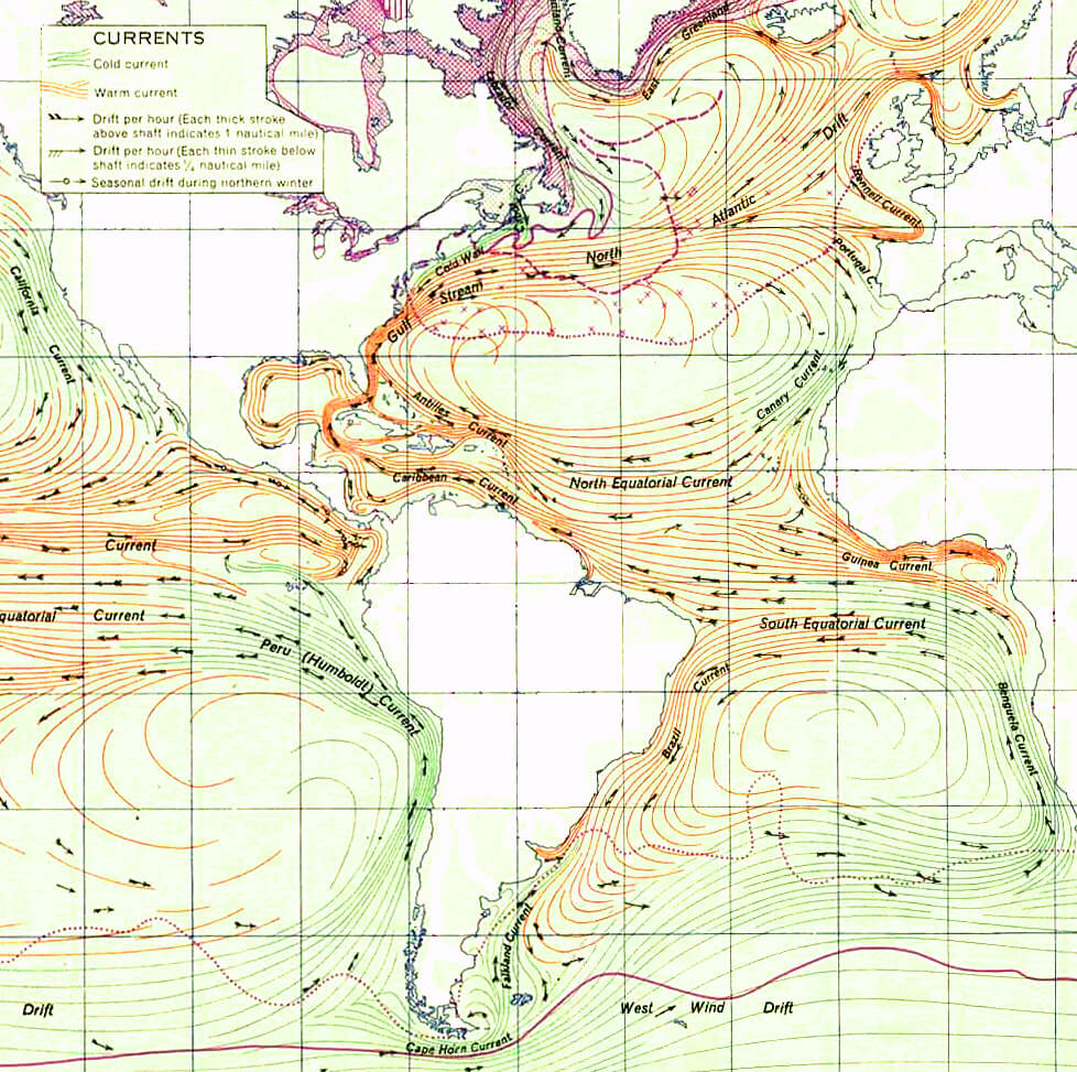 Detail of Ocean Currents and Sea Ice from Atlas of World Maps. Map by United States Army Service Forces, Army Specialized Training Division. Originally published in Army Service Forces Manual M-101 (1943). Courtesy of Wikimedia Commons. Image is in public domain.