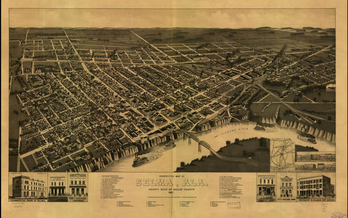 Perspective map of Selma, Alabama, 1887. Map published by Henry Wellge & Co. Courtesy of the Library of Congress Geography and Map Division, https://www.loc.gov/resource/g3974s.pm000090/