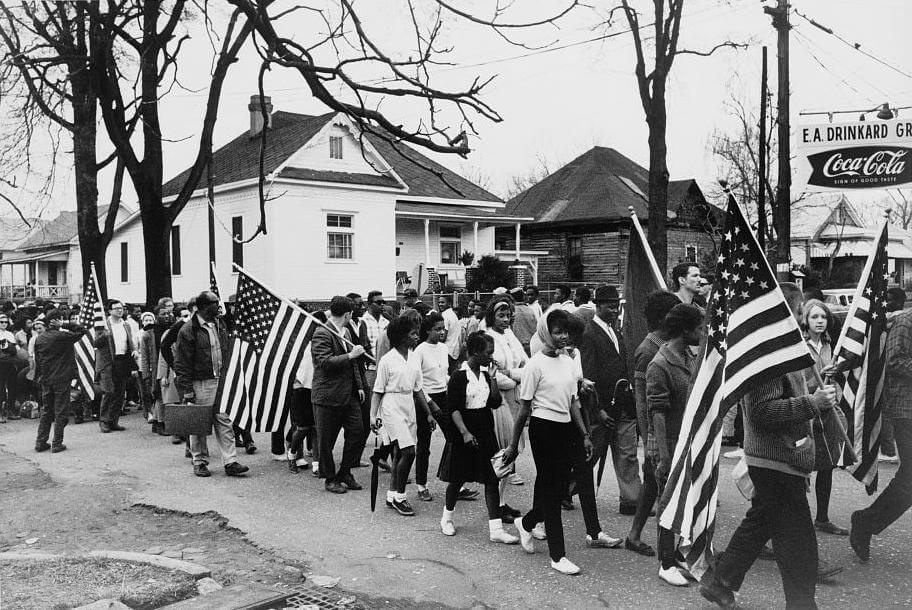 Selma to Montgomery March, Alabama, March, 25, 1965. Photograph by Peter Pettus. Courtesy of Wikimedia Commons. Image is in the public domain.