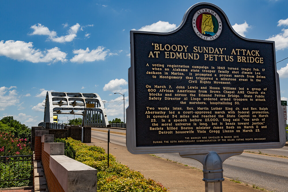 Historic marker at the Edmund Pettus Bridge, Selma, Alabama, June 21, 2016.  Photograph by Flickr user Tony Webster. Creative Commons license CC BY-SA 2.0.
