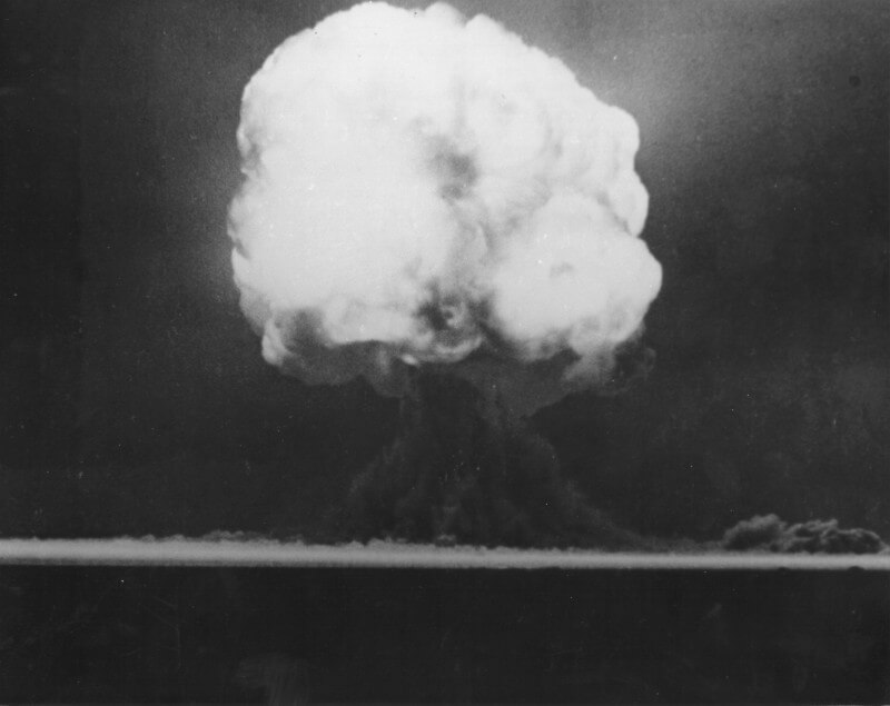 Trinity Test nuclear bomb 15 seconds after detonation, Alamogordo, NM, July 16, 1945. Photo courtesy of National Nuclear Security Administration/Nevada Field Office, www.nv.doe.gov/library/photos/photodetails.aspx?ID=51. Image is in public domain.