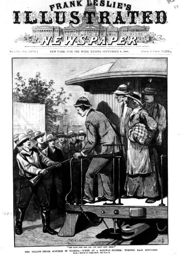 The yellow fever scourge in Florida, September 8, 1888. Illustration by unknown creator, published by Frank Leslie's Illustrated Newspaper. Courtesy of the General: Reference collection, Florida Memory website, The State Archives of Florida.