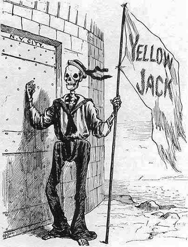 Death as a sailor bringing yellow fever to New York. Illustration by unknown creator, published by Frank Leslie's Illustrated Newspaper. Courtesy of the Civil War Profiles website.