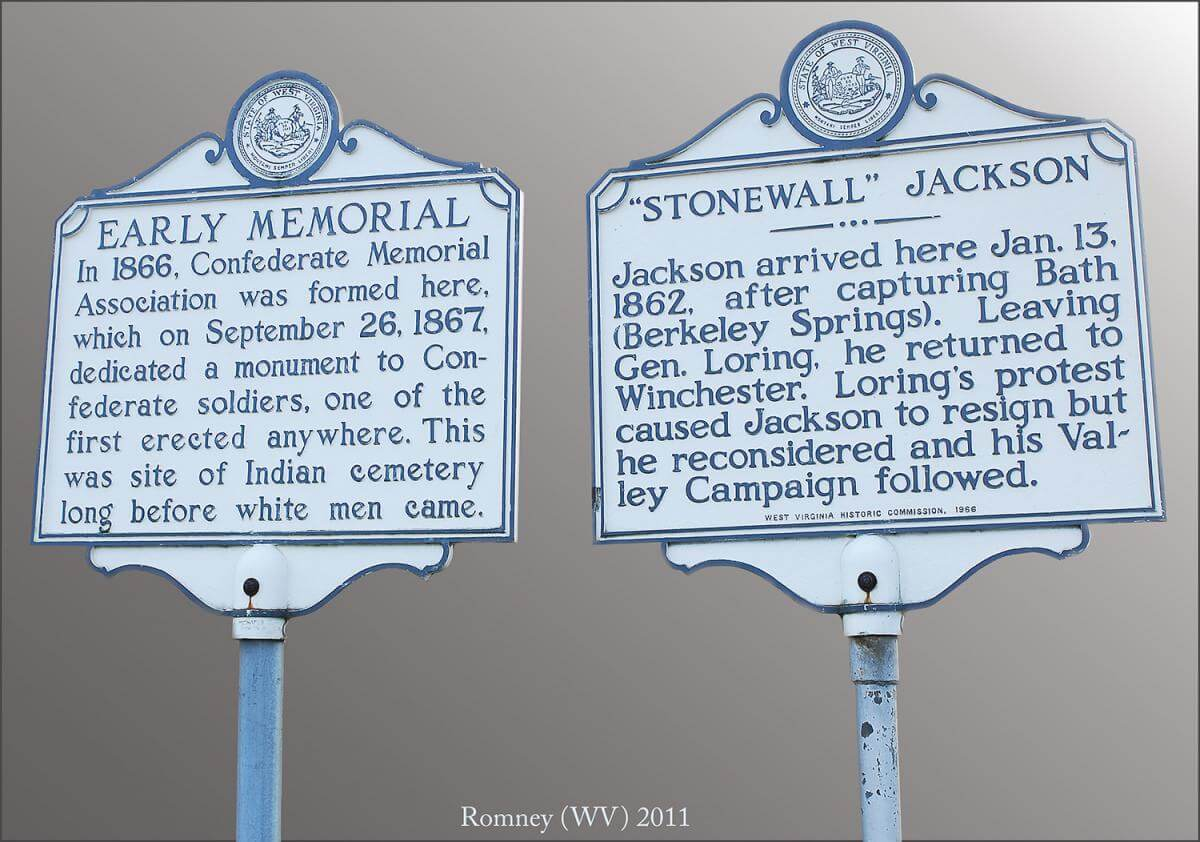 "Photograph of historical signage, ""Early Memorial"" and ""Stonewall Jackson,"" in Romney, West Virginia."