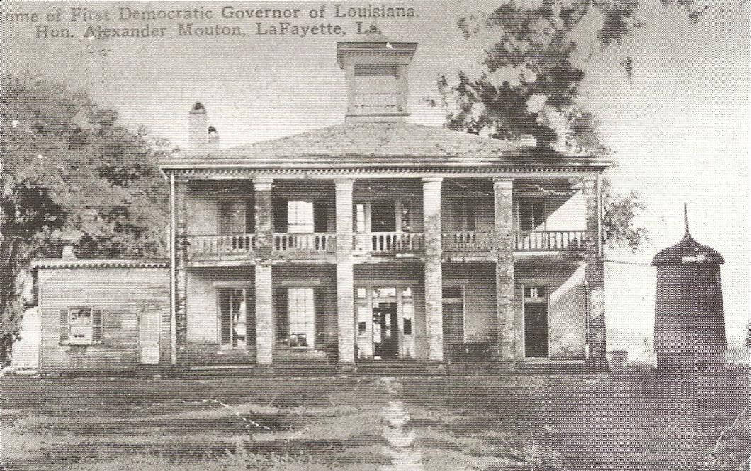Alexander Mouton house at Ile Copal, within present limits of Lafayette, Louisiana, ca. 1900. Postcard book by Jean S. Kiesel. Courtesy of Wikimedia Commons. Image is in public domain.