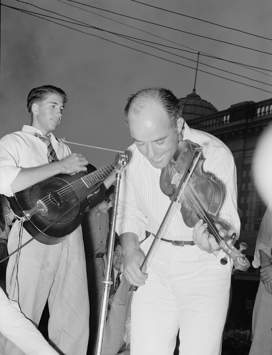 Musicians in Cajun band contest, National Rice Festival, Crowley, Louisiana. Photograph by Russell Lee, 1938. Courtesy of Farm Security Administration/Office of War Information Black-and-White Negatives. Library of Congress Prints and Photographs Division Washington, DC.