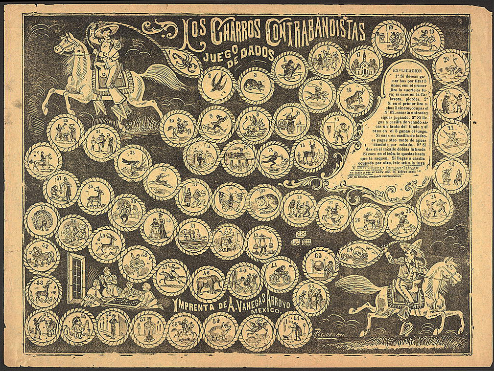 Los charros contrabandistas, Juego de dados [The cowboy smugglers, Dice game], ca. 1890–1910. Etching by José Guadalupe Posada. Courtesy of the Library of Congress Prints and Photographs Division, loc.gov/pictures/resource/ppmsc.03448.