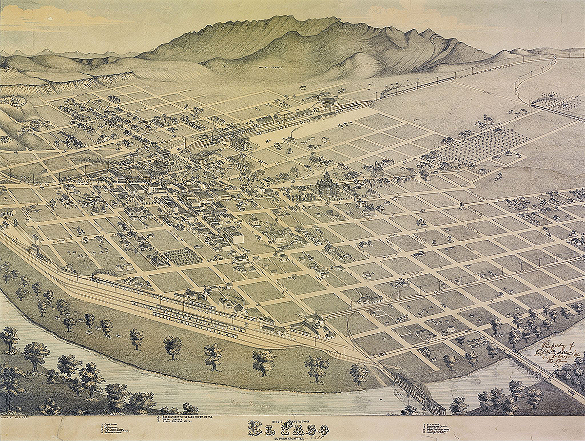 Bird's Eye View of El Paso, El Paso County Texas, 1886. Lithograph by Augustus Koch. Courtesy of Wikimedia Commons. Image is in public domain.