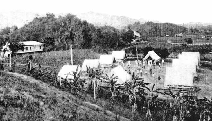 Field Hospital at Utuado, Puerto Rico, 1911. Originally published in Bailey K. Ashford and Pedro Guitérrez Igaravidez's Uncinariasis (Hookworm disease) in Porto Rico: a medical and economic problem (Washington DC: US Government Print Office, 1911). Image is in public domain.