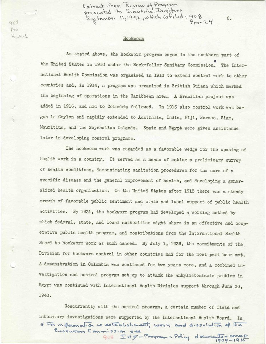 Hookworm (Extract from Review of Program presented to Scientific Directors), 1942. Memo by Rockefeller Foundation. Courtesy of the 100 Years: The Rockefeller Foundation website, Rockefeller Archive Center, Rockefeller Foundation.