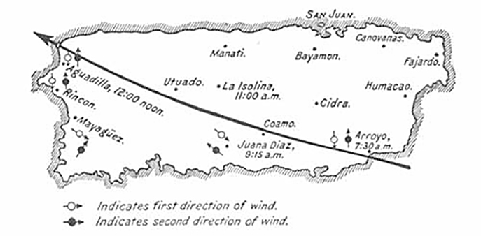 Path of Hurricane San Ciriaco over the island of Puerto Rico, 1899. Originally published in George W. Davis's Military Government of Porto Rico from October 18, 1898, to April 30, 1900 (Washington DC: US Government, 1902), 612. Courtesy of the Library of Congress Hispanic Division, loc.gov/rr/hispanic/1898/sanciriaco.html.