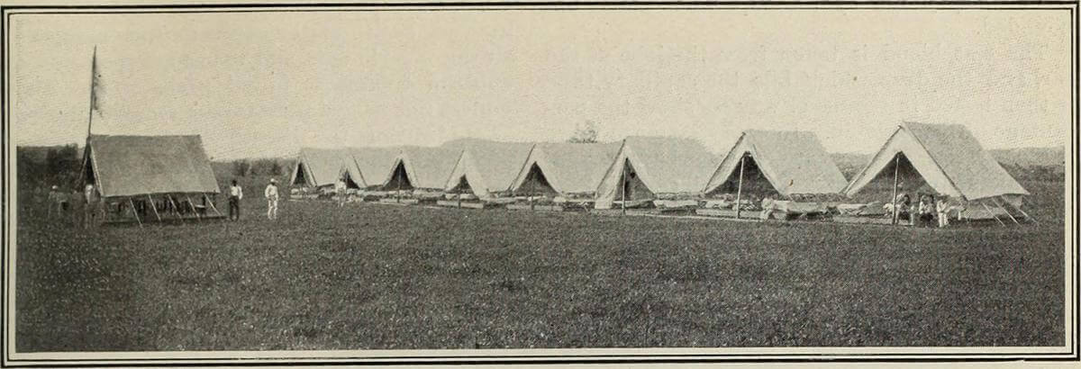 The American camp at Bayamon, Puerto Rico, 1890. Photograph uploaded by Flickr user Internet Archive Book Images. Image is in public domain.