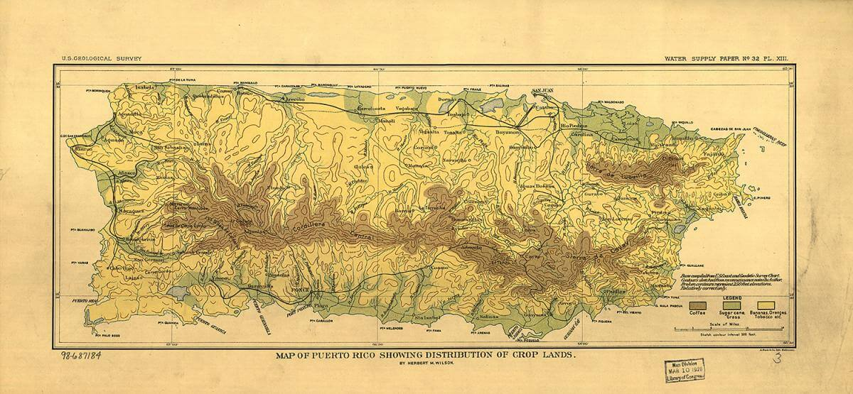 Map of Puerto Rico showing distribution of crop lands, 1899. Map by Herbert M. Wilson. Courtesy of the Library of Congress Geography and Map Division, loc.gov/item/98687184/.