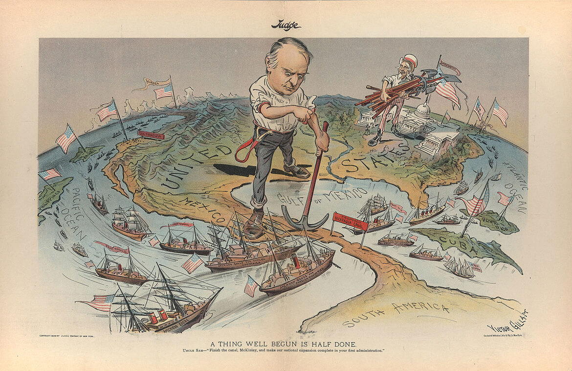 American Imperialism. A Thing Well Begun is Half Done, 1899. Illustration by Victor Gillam. Courtesy of Wikimedia Commons. Illustration is in public domain.