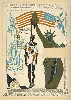 An issue of Soviet magazine Bezbozhnik, depicting the lynching of an African American, 1930. Courtesy of Wikipedia.