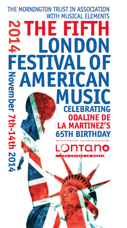 Front cover from The Fifth London Festival of American Music program featuring The Crossing, libretto by Joan Anim-Addo.