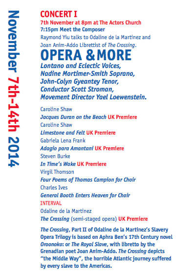 Content page from The Fifth London Festival of American Music program featuring The Crossing, libretto by Joan Anim-Addo.