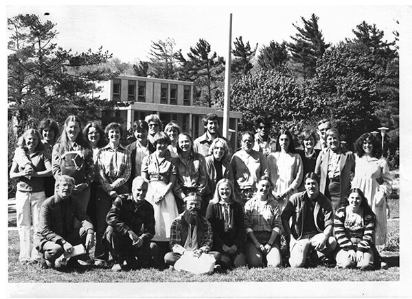 Faculty and students of the Appalachian Culture Semester, Appalachian State University, Boone, North Carolina, 1980. Dr. Patricia Beaver, professor emeritus and former director of the Center for Appalachian Studies, standing third from left. Academic activist Helen Lewis, standing second from right. Photograph courtesy of Deborah Thompson.