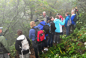 """Where There Are Mountains"" program with Dr. Alan Smith, Mountains to Sea Trail, Craggy Gardens, North Carolina, September, 2011. Photograph by Dr. Marc Mullinax. Courtesy of the Liston B. Ramsey Center for Regional Studies at Mars Hill University."
