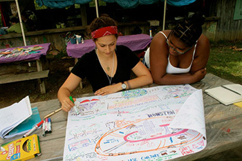 Adina Hemley-Bronstein and Elandria Williams mapping community, STAY Summer Institute, High Rocks Camp, Hillsboro, West Virginia, Summer 2012. Photograph courtesy of the STAY Project.
